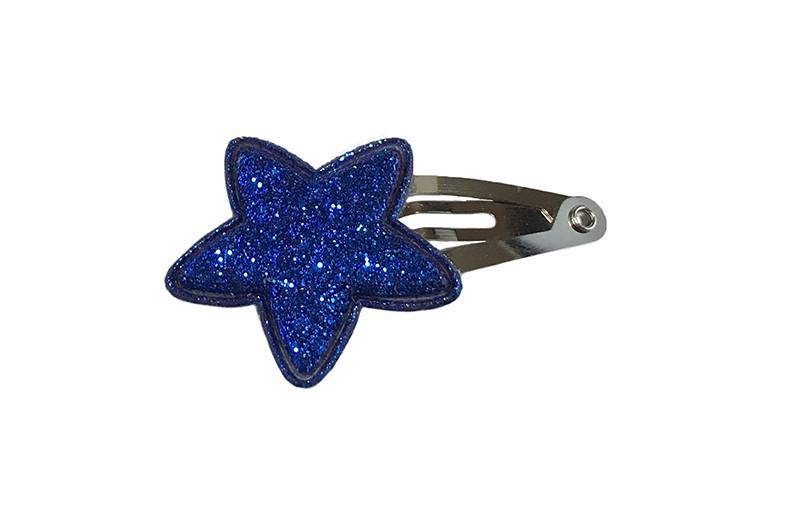 Vrolijk baby haarspeldje met een kobalt blauw glitter sterretje.