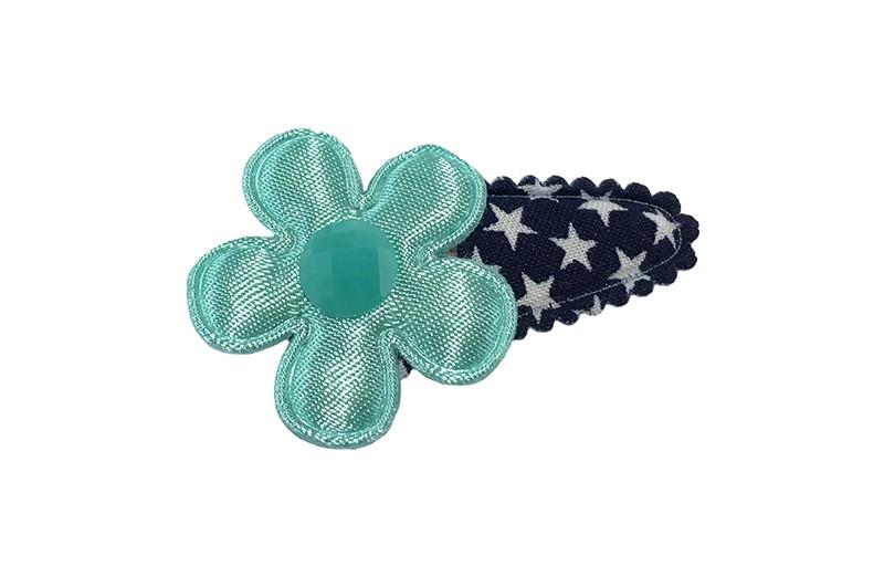 Vrolijk donkerblauw baby peuter haarspeldje met witte sterretjes.  Met een mintgroen bloemetje en een mintgroen steentje.