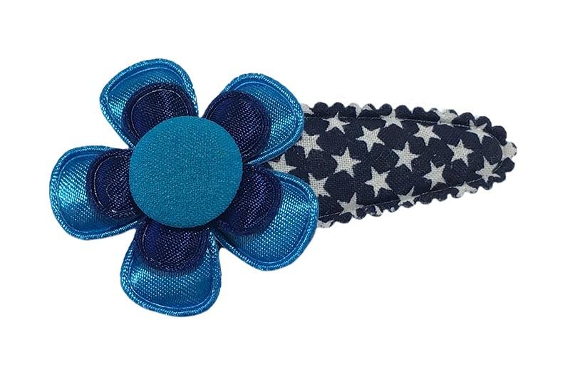 Leuk donkerblauw peuter kleuter haarspeldje met witte sterretjes.  Meteen blauw bloemetje, een donkerblauw bloemetje en een blauw stofknoopje.