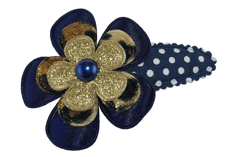 Vrolijk donkerblauw gestippeld peuter kleuter haarspeldje.  Met een donkerblauw bloemetje, een bloemetje in panterprint en een goud glitter bloemetje.  Afgemaakt met een donkerblauw pareltje.