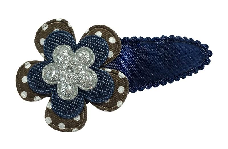Leuk effen donkerblauw peuter kleuter haarspeldje.  Met een bruin gestippeld bloemetje, een effen donkerblauw bloemetje en een klein zilver glitter bloemetje.