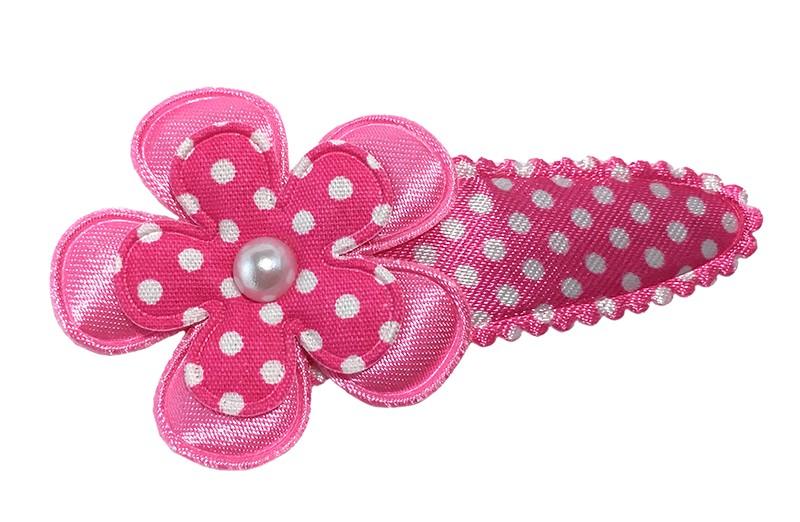 Vrolijk fel roze gestippeld peuter kleuter haarspeldje met een effen roze bloemetje en een roze bloemetje met witte stippeltjes.  Afgewerkt met een klein wit pareltje.