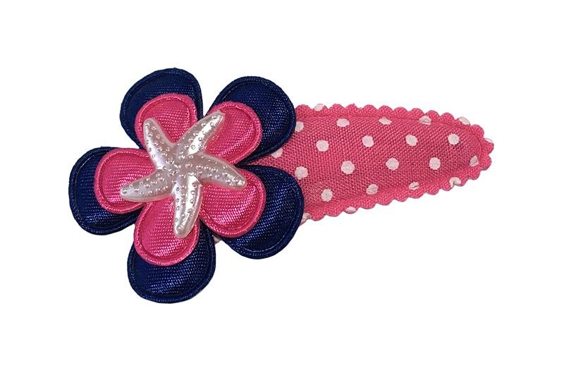 Vrolijk roze peuter kleuter haarspeldje met witte stippeltjes.  Met een donkerblauw bloemetje, een fuchsia roze bloemetje en een klein zeesterretje.