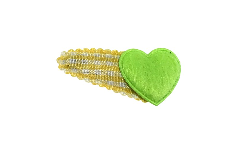 Vrolijk geel wit geruit baby peuter haarspeldje met een fel groen fluffie hartje.