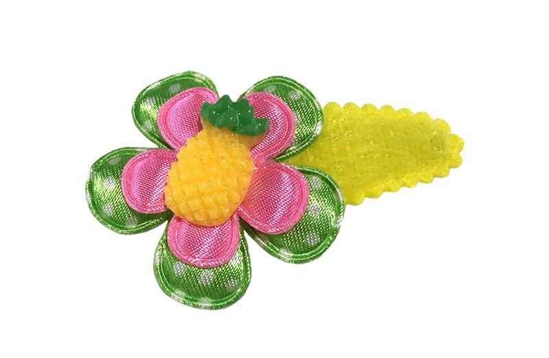 Vrolijk fel geel peuter meisjes haarspeldje.  Met een licht groen gestippeld bloemetje en een fel roze bloemetje.  Afgewerkt met een ananas steentje.
