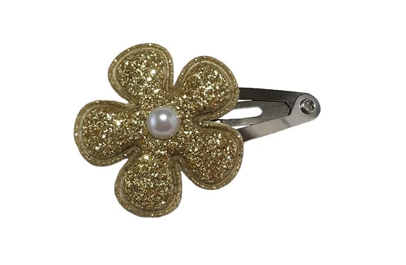 Leuk baby haarspeldje met een goud glitter bloemetje met een klein wit pareltje.