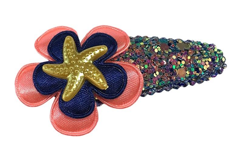 Vrolijk glitterlook peuter kleuter haarspeldje.  Met een koraalroze bloemetje en een donkerblauw bloemetje.  Afgemaakt met een goudkleurig zeesterretje.