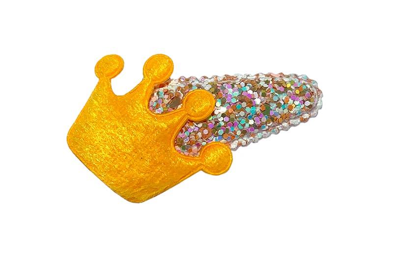 Vrolijk peuter kleuter haarspeldje met glittertjes.  Met een oranje kroontje.