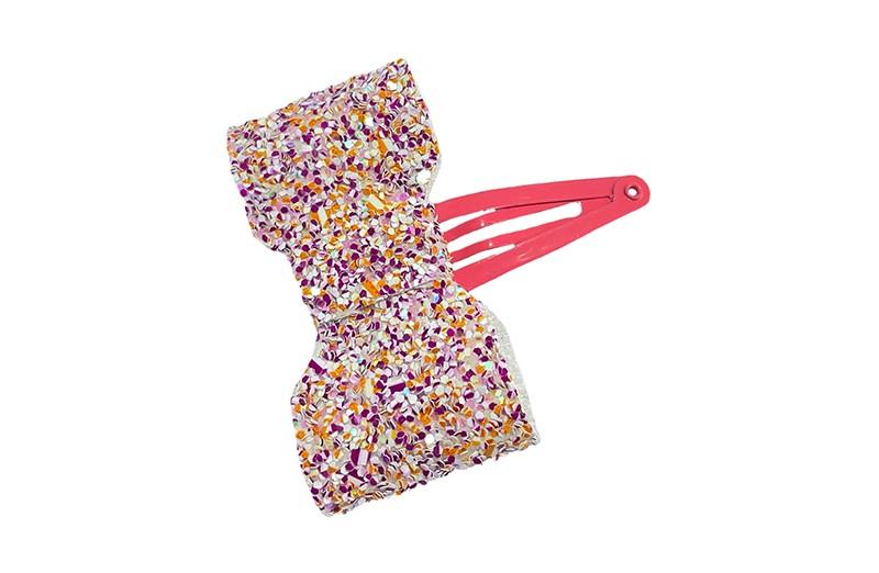 Vrolijk koraal roze peuter kleuter meisjes haarspeldje.  Met een leuk strikje van gekleurd glitter leer.