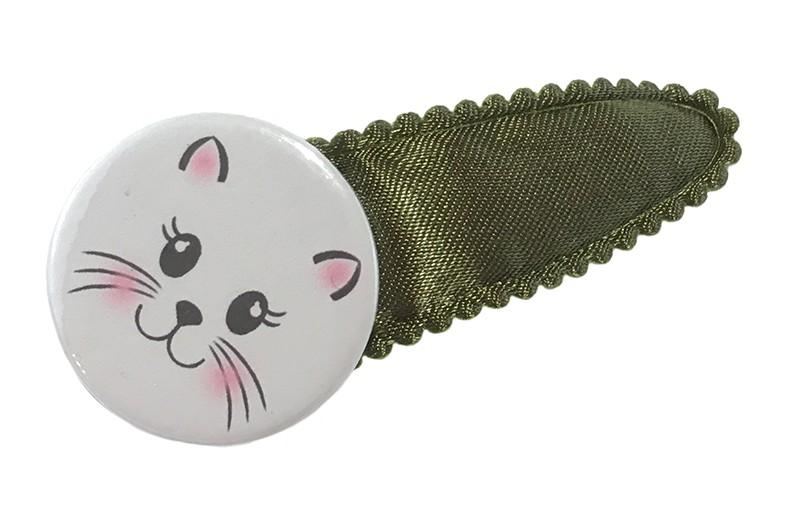 Vrolijk glanzend legergroen peuter kleuter haarspeldje met een leuke button met daarop een schattig poezenkopje.