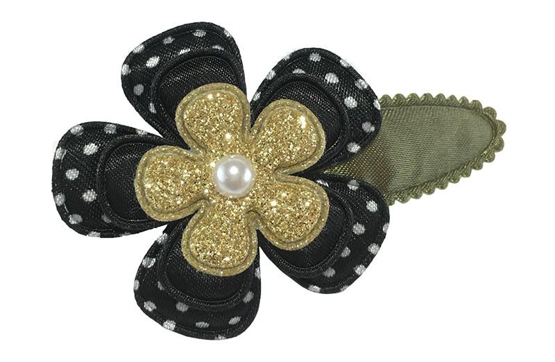 Leuk effen legergroen peuter kleuter haarspeldje.  Met een zwarte bloem met witte stippels, een effen zeart bloemetje en een goud glitter bloemetje.  Afgewerkt met een klein pareltje.