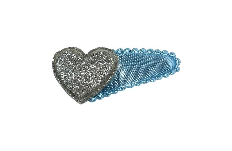 Vrolijk effen licht blauw baby peuter haarspeldje.  Met daarop een zilver glitter hartje.