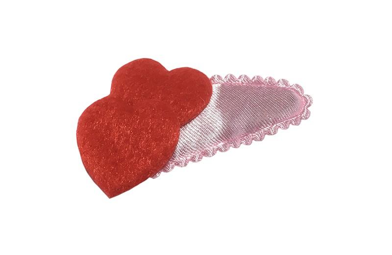 Schattig effen lichtroze peuter meisjes haarspeldje. Met 2 rode fluffie hartjes.