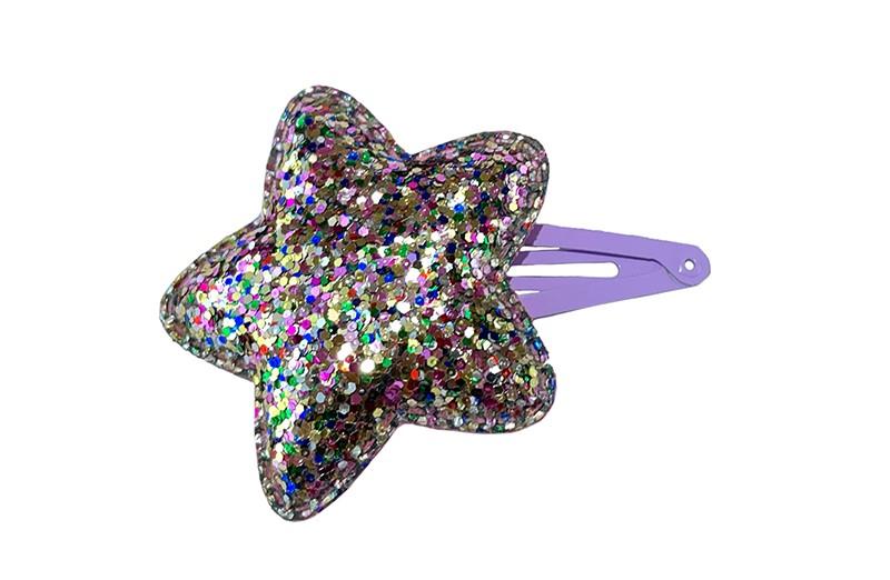 Vrolijk lila paars peutr kleuter haarspeldje. Met een zilver glitter sterretje.