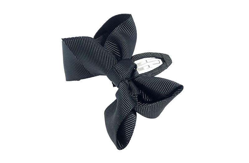 Vrolijk  peuter kleuter haarspeldje bekleed met zwart lint.  Met een zwart strikje van geribbeld lint. In een mooie dubbel geknoopte look.
