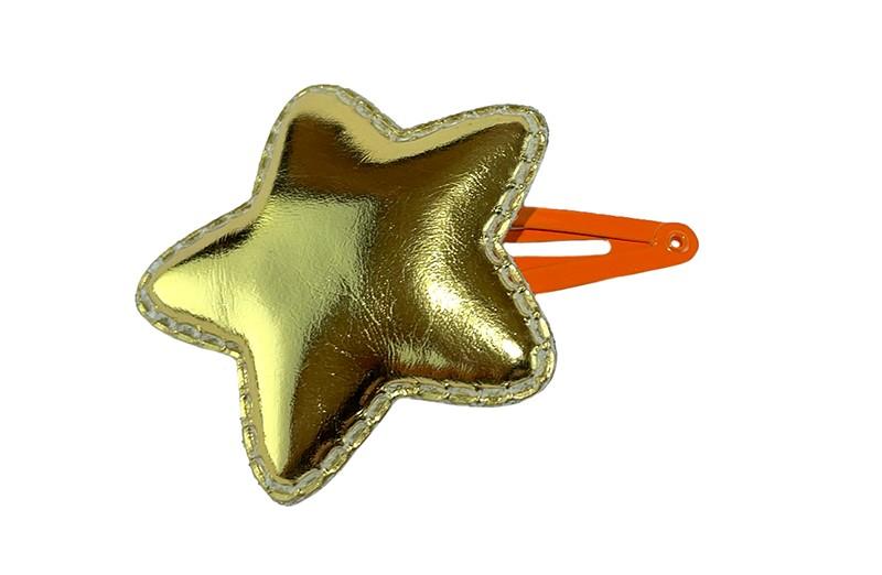 Vrolijk oranje peuter kleuter haarspeldje.  Met een galnzende gouden leerlook ster.