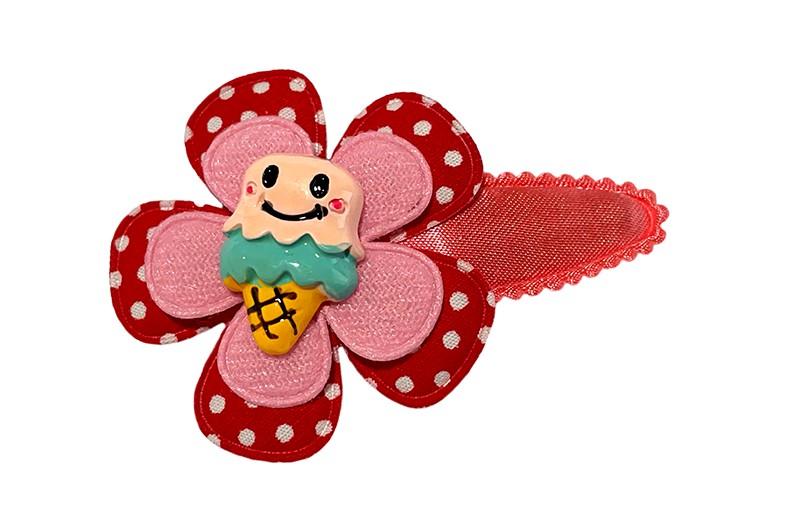 Vrolijk koraalroze peuter kleuter haarspeldje.  Met een rood wit gestippeld bloemetje en een roze bloemetje. Afgemaakt met een vrolijk figuurtje van ijsje.