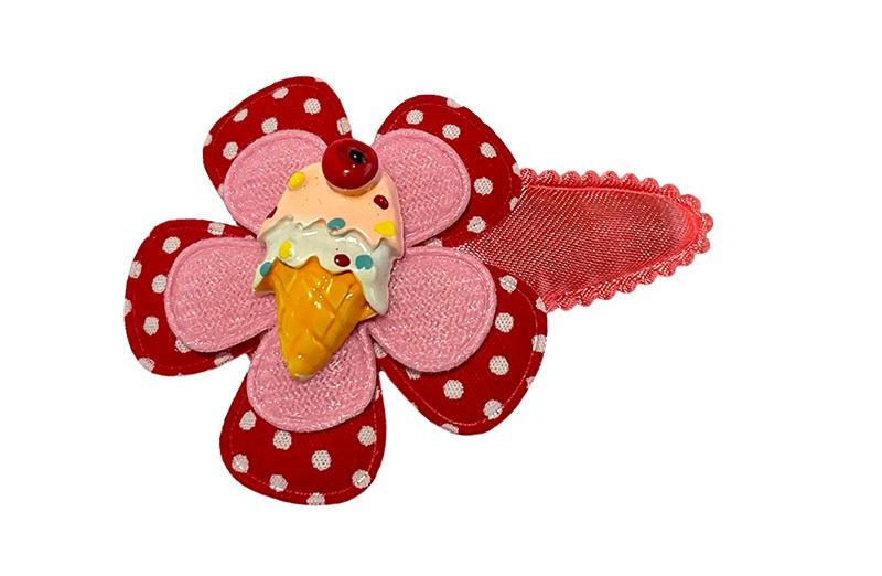 Vrolijk koraalroze peuter kleuter haarspeldje. Met een rood wit gestippeld bloemetje en een roze bloemetje. Afgemaakt met een vrolijk gekleurd figuurtje van ijsje.