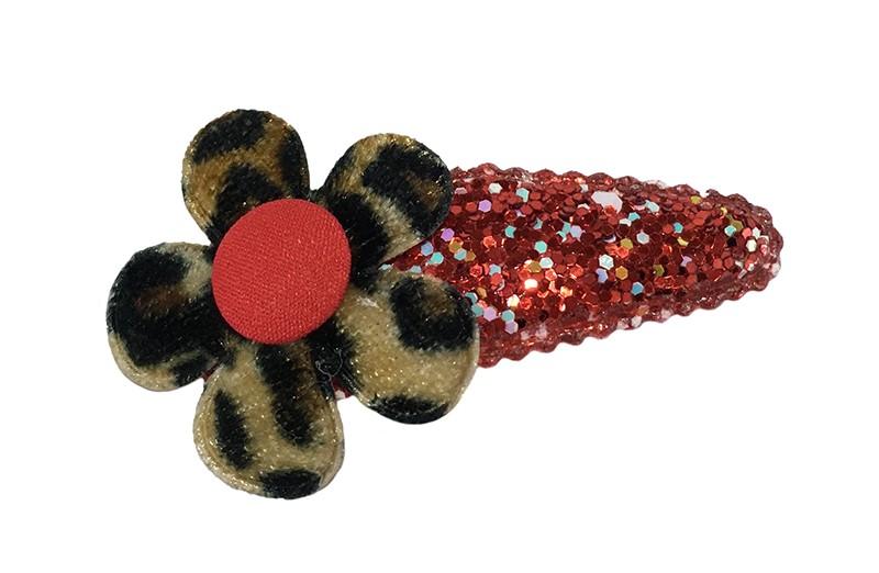 Vrolijk rood peuter kleuter haarspeldje met glittertjes.  Met een panterprint bloemetje en een rood stofknoopje.