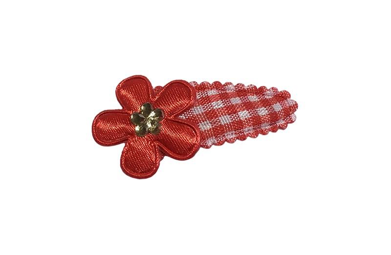Vrolijk rood met wit geruit baby peuter haarspeldje.  Met een rood bloemetje en een mini glinster bloemetje.