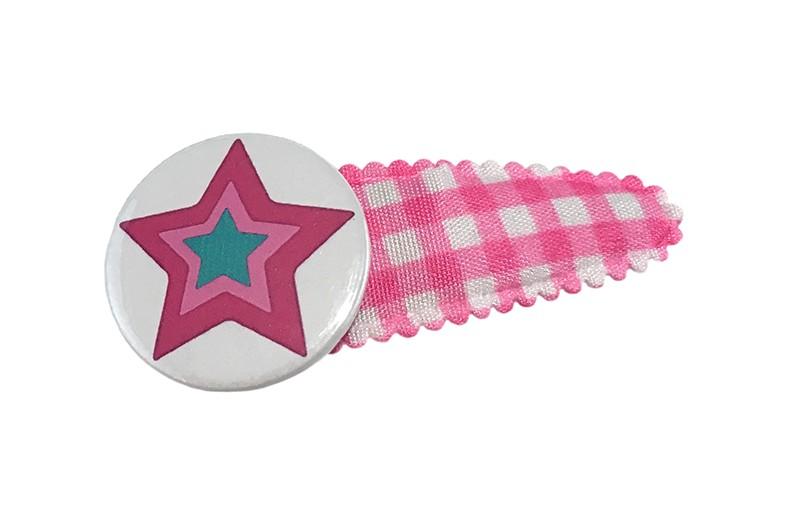 Vrolijk roze wit geruit peuter kleuter haarspeldje.  Met een leuke button met gekleurde ster.