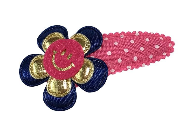 Vrolijk roze peuter kleuter meisjes haarspeldje met witte stippeltjes.  Met een donkerblauw bloemetje, een glanzend goud bloemetje en een fuchsia roze smiley.