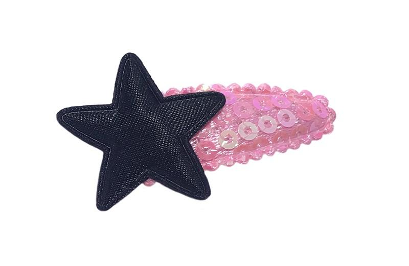 Leuk roze baby peuter haarspeldje met pailletjes. Met een glanzend zwart sterretje.