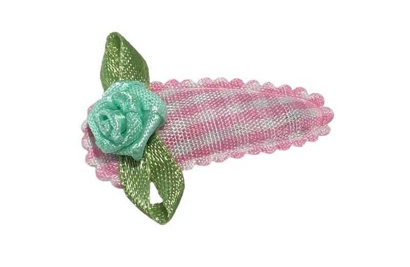 Lief licht roze wit geruit baby peuter haarspeldje.  Met een mint groen roosje.