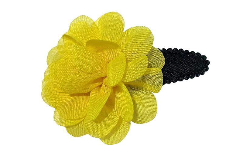 Vrolijk effen zwart peuter kleuter haarspeldje.  Met een geel chiffon bloemetje.