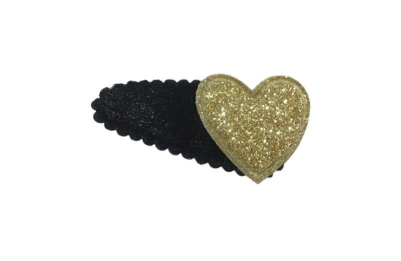 Leuk fluffie zwart baby peuter haarspeldje met een goud glitter hartje.