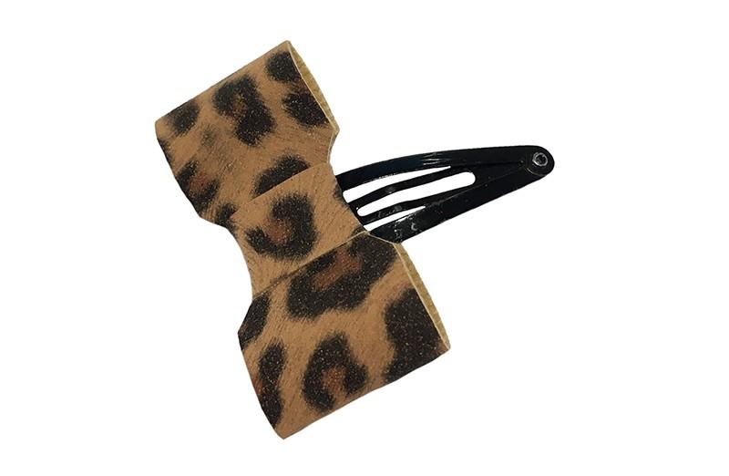 Vrolijk zwart peuter kleuter haarspeldje.  Met een dun leerlook strikje in een hip panterprintje. Handig een haarplukje vastzetten bij een vrolijk staartje, knotje en andere kapseltjes.