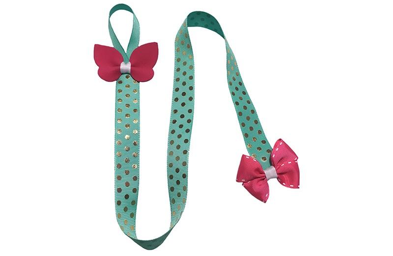 Vrolijk en handig bewaarlint voor de haarspeldjes.  En ook nog is een leuke accesoire voor aan de muur, kast enz..  Het groene lint heeft vrolijke gouden stippen en aan de bovenkant een handig ophanglusje.  Versierd met bovenaan een vrolijke roze vlinder en onderaan een leuke roze strik.