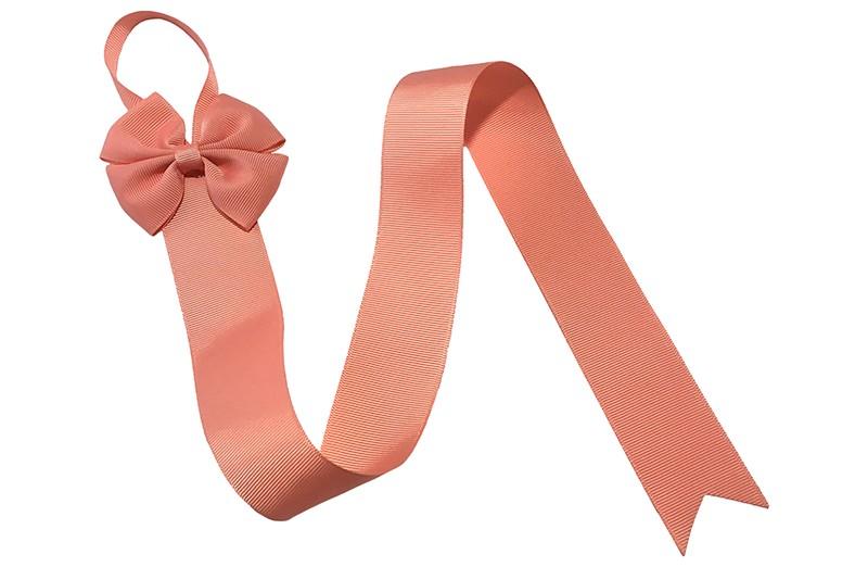 Berg je haarspeldjes en strikken handig op aan dit mooie bewaarlint.  Het bewaarlint is van zalm roze lint met bovenaan een vrolijke grote zalm roze strik.  De lengte van het lint is ongeveer 56 centimeter en het lint is ongeveer 4 centimeter breed. De stoffen strik is 8 centimeter breed. Tip: ook leuk om kado te geven!