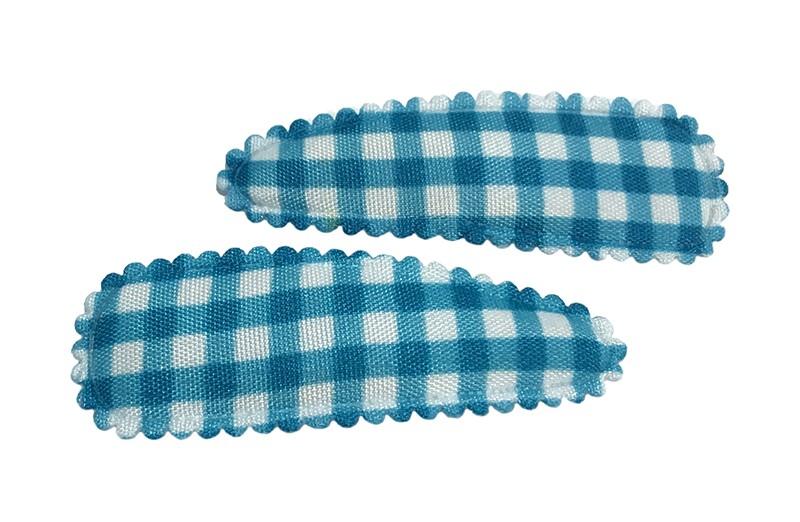 Vrolijk setje van 2 blauw wit geruite peuter kleuter haarspeldjes.