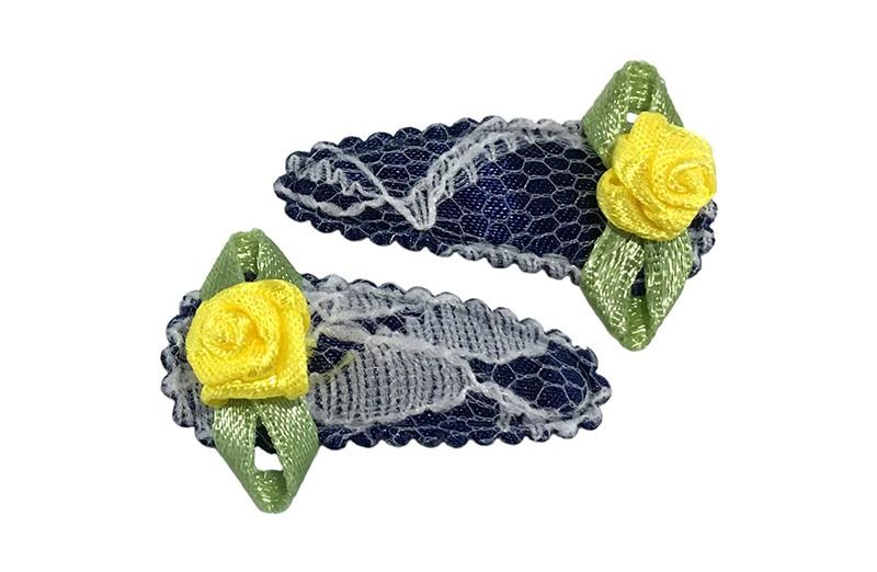 Schattig setje van 2 donkerblauwe kantlook baby peuter haarspeldjes.  Met op elk een geel roosje.