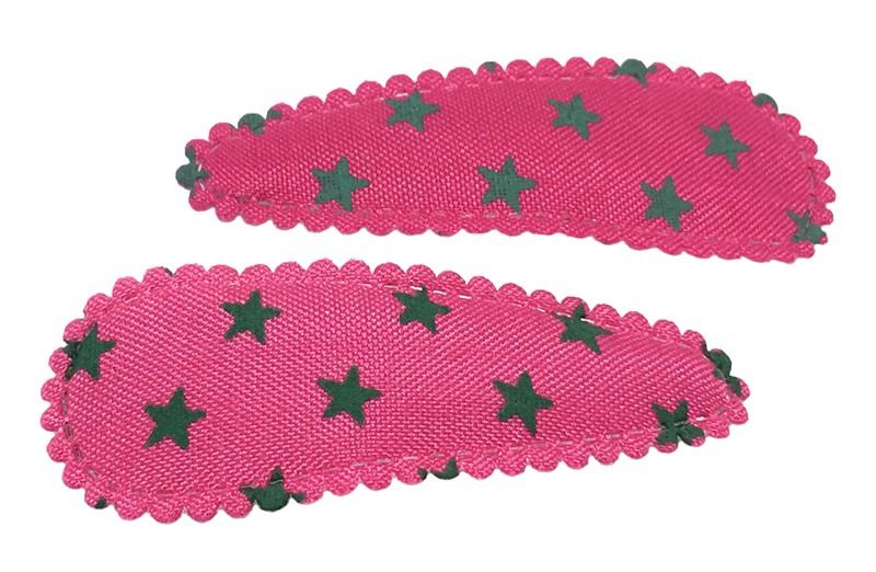Vrolijk setje van 2 fuchsia roze peuter, kleuter haarspeldjes met legergroene sterretjes. Handig setje basisspeldjes.