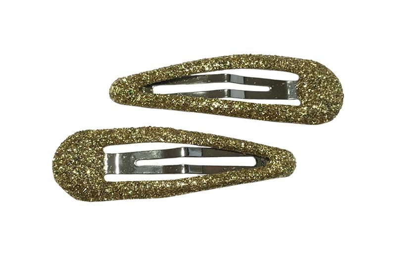Handig setje van 2 peuter kleuter basis haarspeldjes in glitter goud.