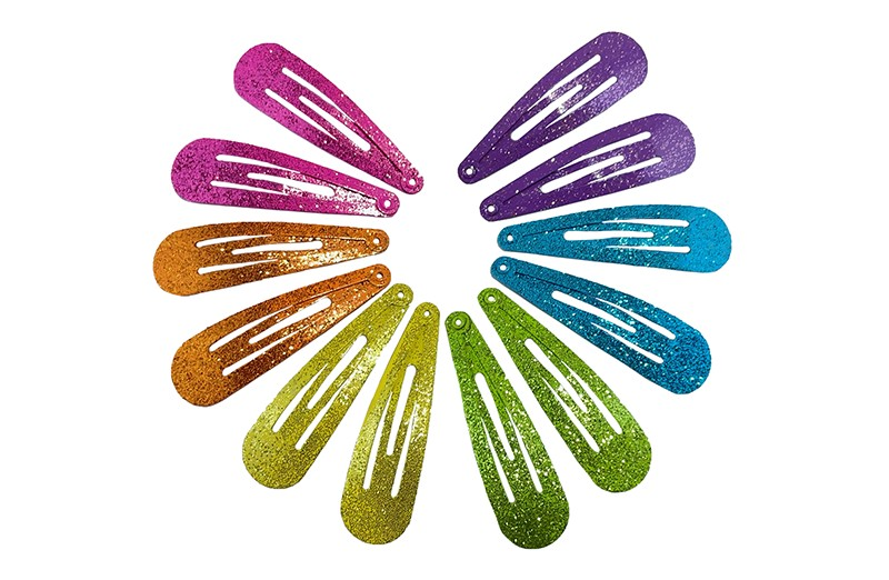 Vrolijk setje van 12 basis glitter haarspeldjes in de kleurtjes roze, oranje, paars, groen, blauw en geel.