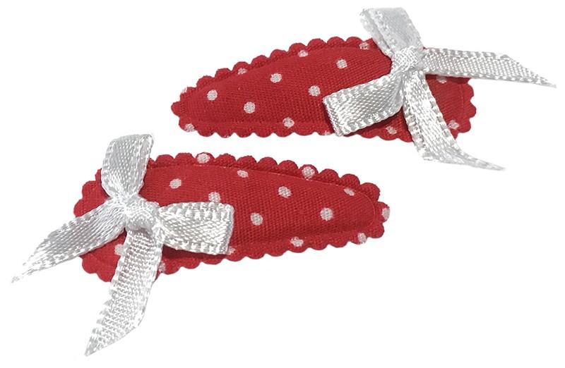 Vrolijk setje van 2 rode baby peuter haarspeldjes met witte stippeltjes. Met op elk een wit strikje.