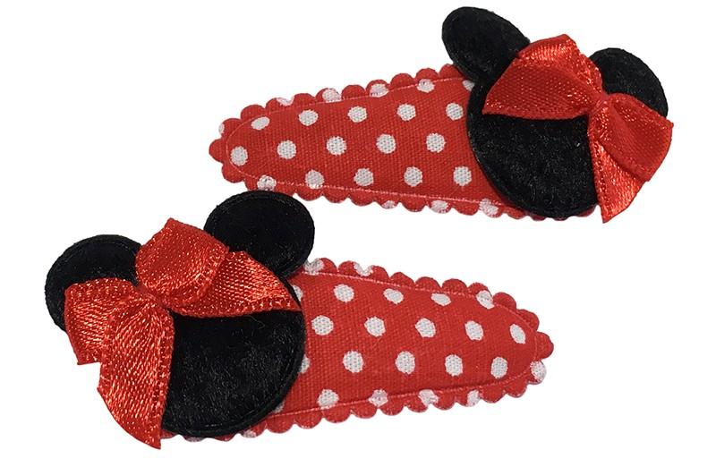Vrolijk setje van 2 rood gestippelde peuter haarspeldjes met zwart mouse kopje en een rood strikje.