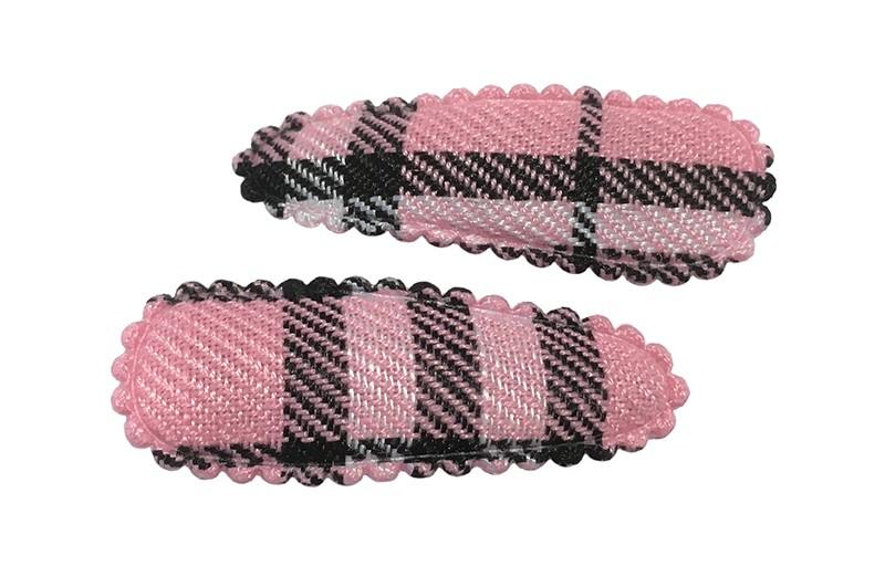 Lief setje van 2 roze geruite peuter haarspeldjes.