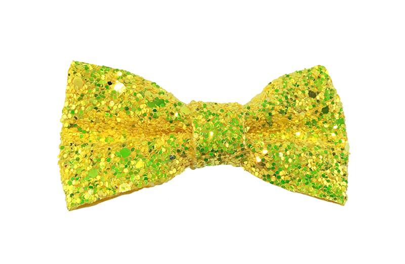 Vrolijke fel gele peuter, kleuter, meiden haarstrik vol met glittertjes.  De glittertjes in groot en klein geven deze strik een extra glanzende look.  Vastgemaakt op een handig haarknipje met kleine tandjes van 4 centimeter.
