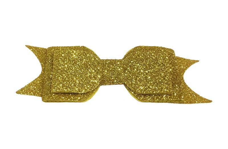 Vrolijke goudkleurige glitter haarstrik, middelgroot. Voor peuter, kleuter meisjes. Op een handig alligator knipje van 4.5 centimeter.