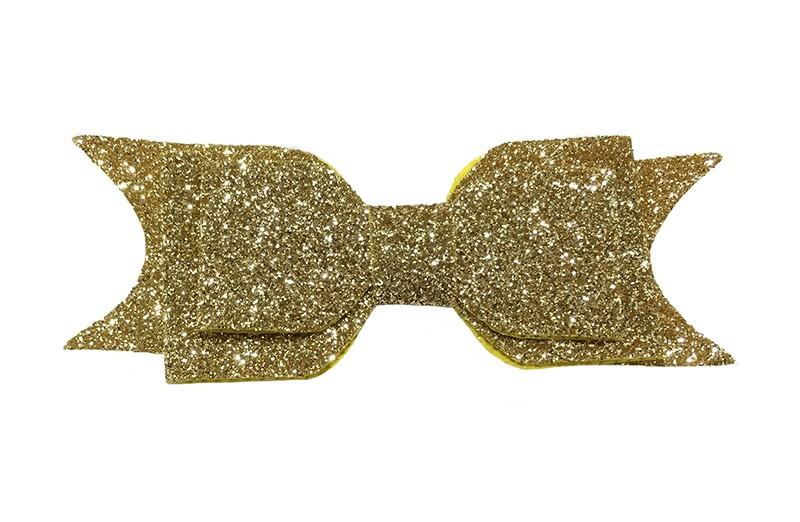 Vrolijk goud glitter haarstrikje, middelgroot. Voor peuter, kleuter meisjes. Op een handig alligator knipje van 4.5 centimeter.