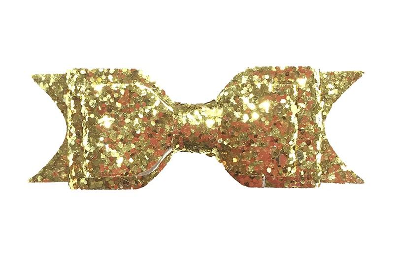 Vrolijke gouden glitter haarstrik.  Op een handig haarknipje met kleine tandjes van 5.5 centimeter.  Met deze strik makkelijk een extra feestelijk kapsel.