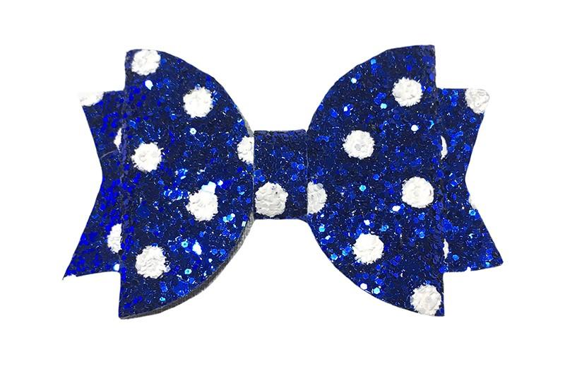 Vrolijke kobalt blauwe glitter haarstrik met witte stippen.  In een mooie dubbellaagse look.  Op een handig alligatorknipje van ongeveer 4.5 centimeter.