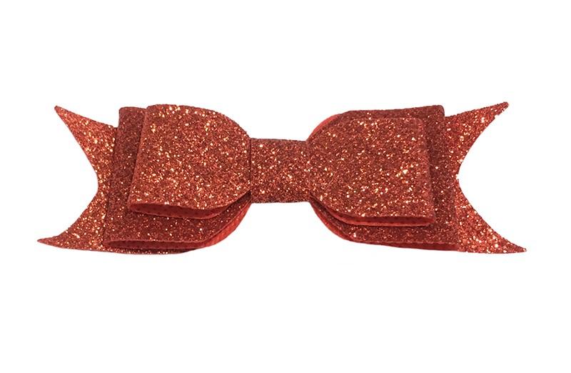 Vrolijke rode glitter haarstrik, middelgroot. Voor peuter, kleuter meisjes. Op een handig alligator knipje van 4.5 centimeter. rn