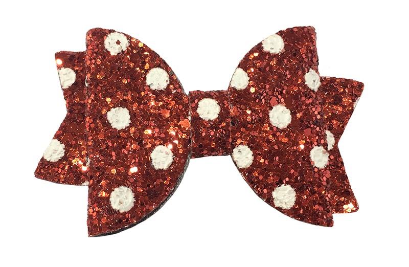 Vrolijke rode glitter haarstrik met witte stippen.  In een mooie dubbellaagse look.  Op een handig alligatorknipje van ongeveer 4.5 centimeter.