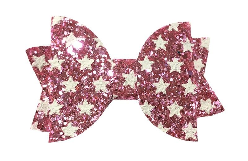 Vrolijke roze glitter haarstrik met witte sterretjes.  In een mooie dubbellaagse look.  Op een handig alligatorknipje van ongeveer 4.5 centimeter.