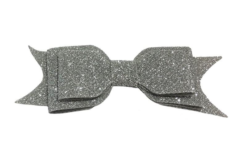 Vrolijke zilver grijze glitter haarstrik, middelgroot. Voor peuter, kleuter meisjes. Op een handig alligator knipje van 4.5 centimeter.